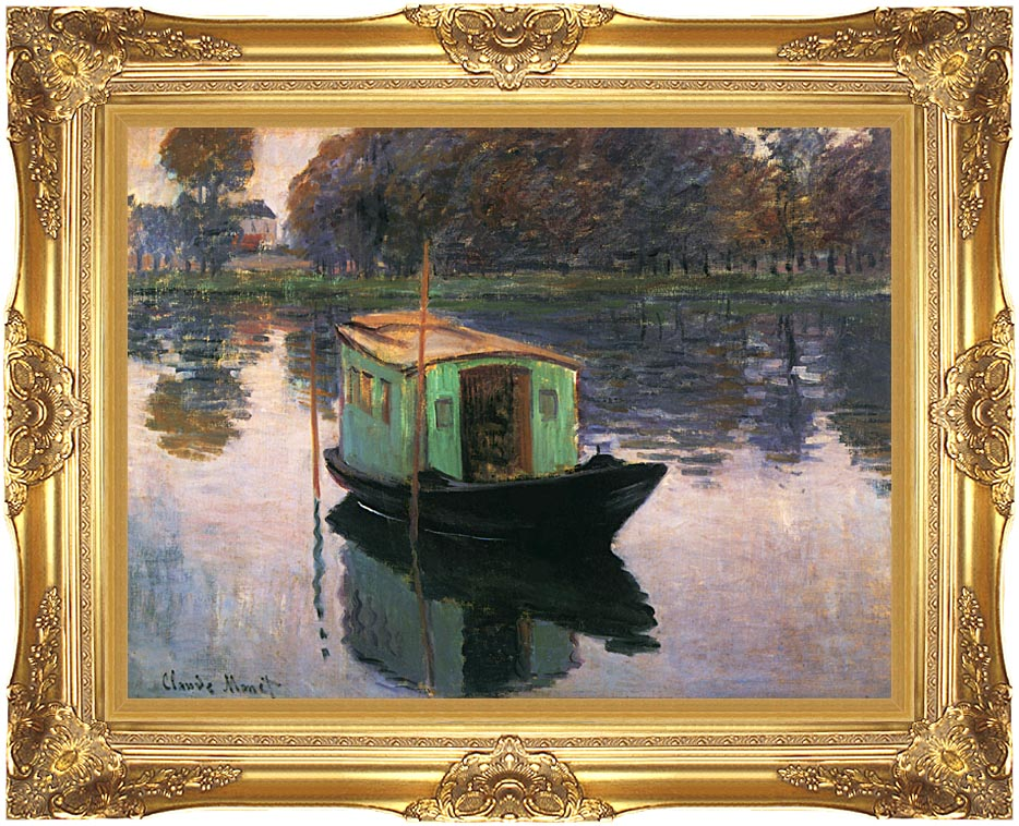 Claude Monet The Studio Boat with Majestic Gold Frame