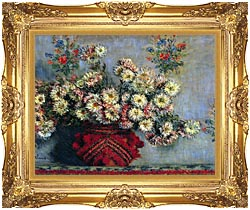 Claude Monet Vase With Chrysanthemums canvas with Majestic Gold frame