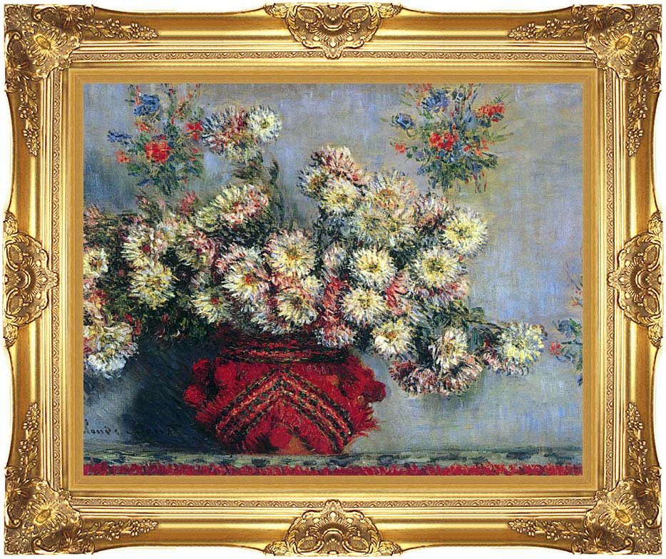 Claude Monet Vase with Chrysanthemums with Majestic Gold Frame