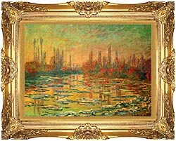 Claude Monet Floating Ice On The Seine canvas with Majestic Gold frame