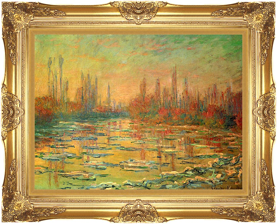 Claude Monet Floating Ice on the Seine with Majestic Gold Frame