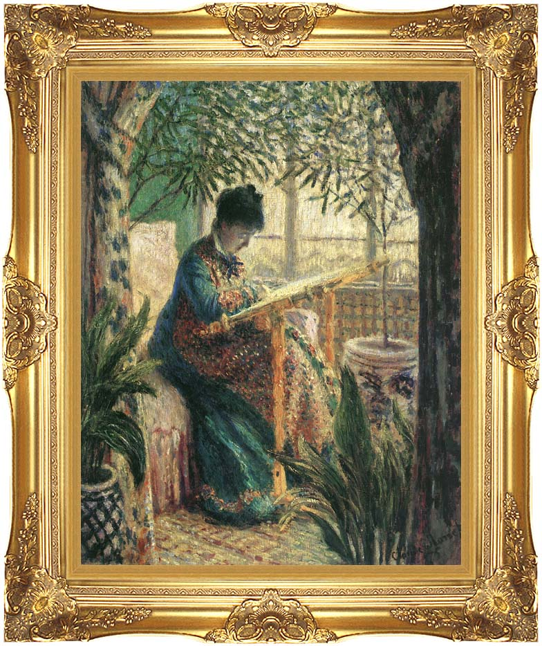 Claude Monet Madame Camille Monet Embroidering with Majestic Gold Frame
