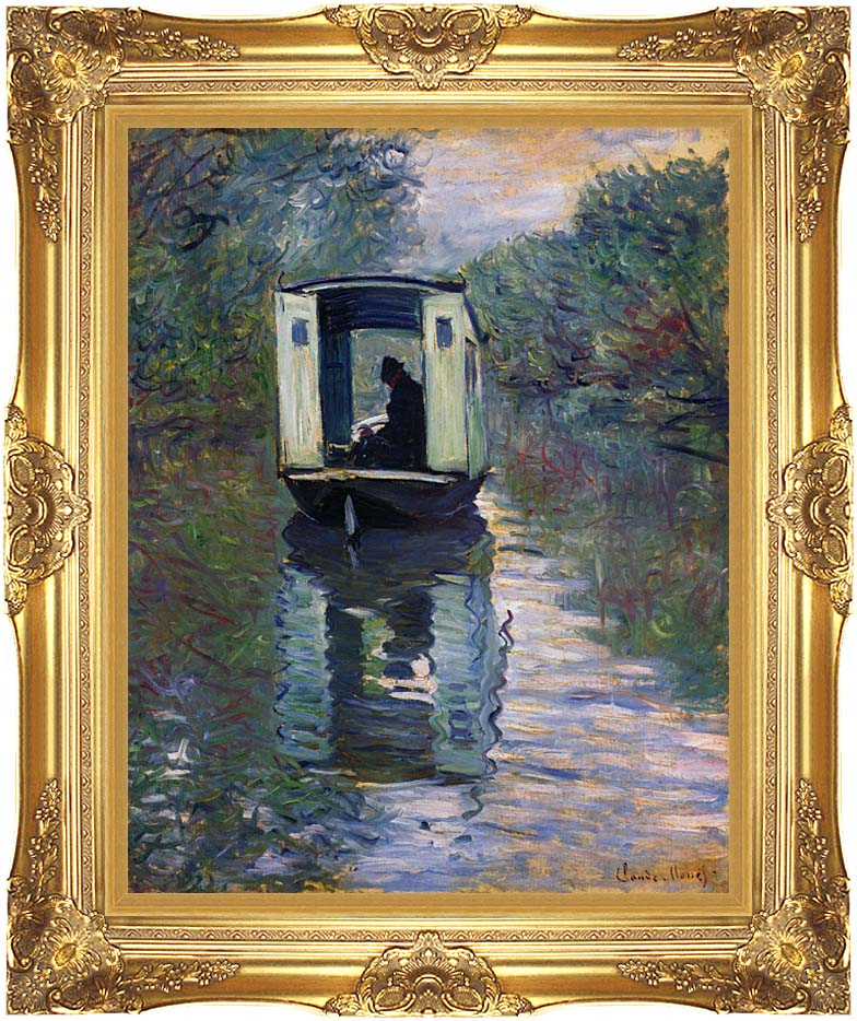 Claude Monet The Boat Studio with Majestic Gold Frame