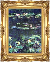 Claude Monet Green Reflection Detail canvas with Majestic Gold frame