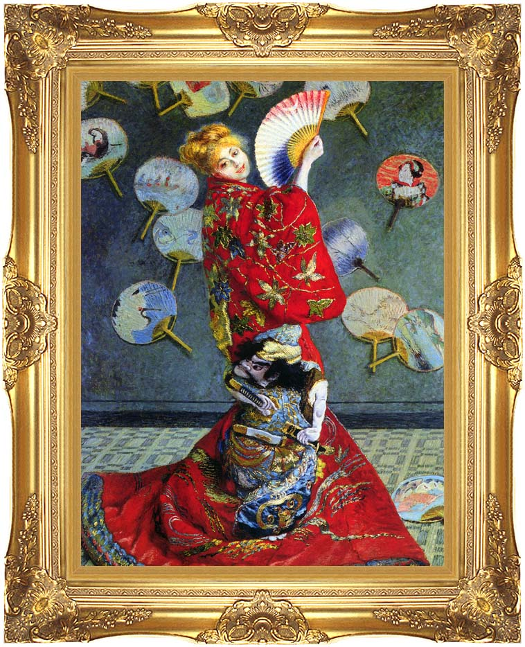 Claude Monet Camille Monet in Japanese Costume with Majestic Gold Frame