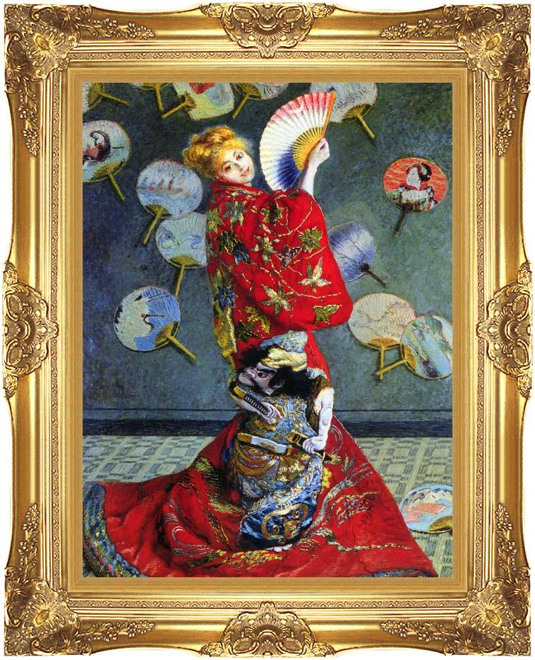 7d9b725e4ea Camille Monet in Japanese Costume. Claude Monet Camille Monet in Japanese  Costume with Majestic Gold Frame. Framed Artwork Dimensions