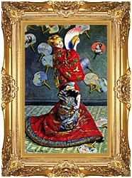 Claude Monet Madame Monet In Japanese Costume canvas with Majestic Gold frame