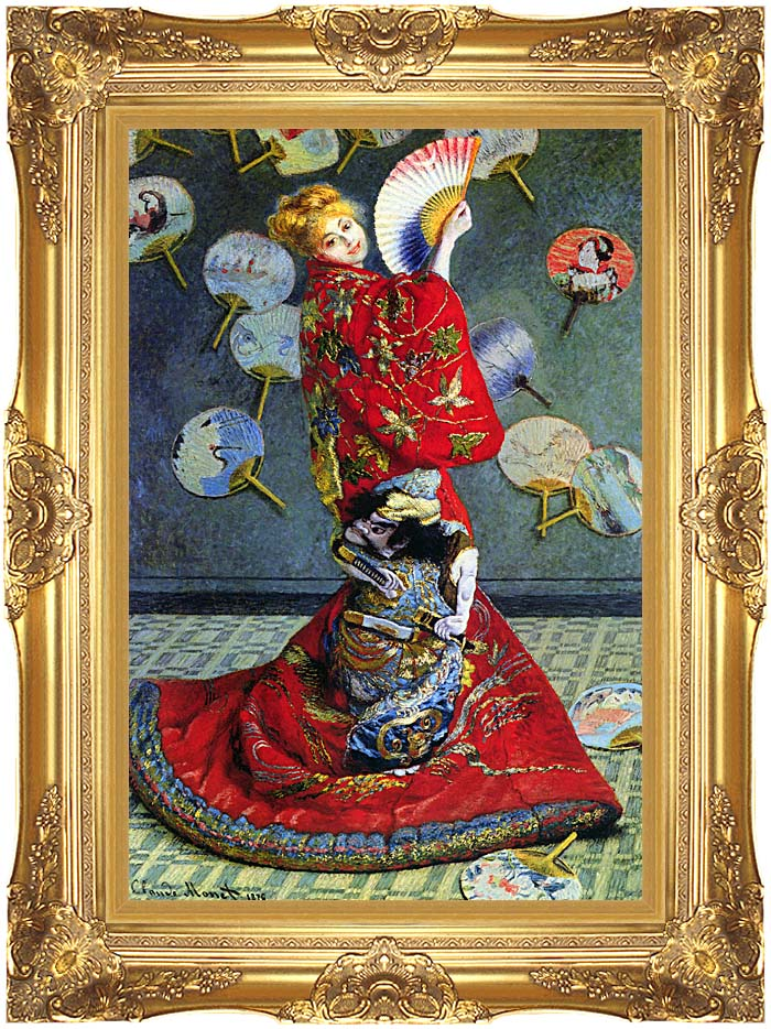 Claude Monet Madame Monet in Japanese Costume with Majestic Gold Frame