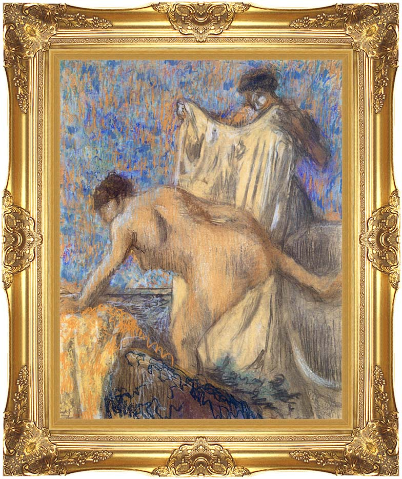 Edgar Degas After the Bath Pastel with Majestic Gold Frame