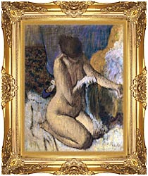Edgar Degas After The Bath Kneeling Woman Drying Her Left Elbow canvas with Majestic Gold frame