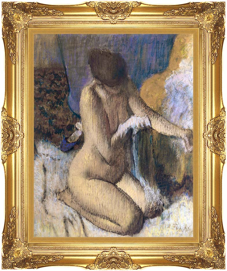 Edgar Degas After the Bath, Kneeling Woman Drying Her Left Elbow with Majestic Gold Frame