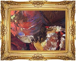 Edgar Degas At The Milliners Detail canvas with Majestic Gold frame