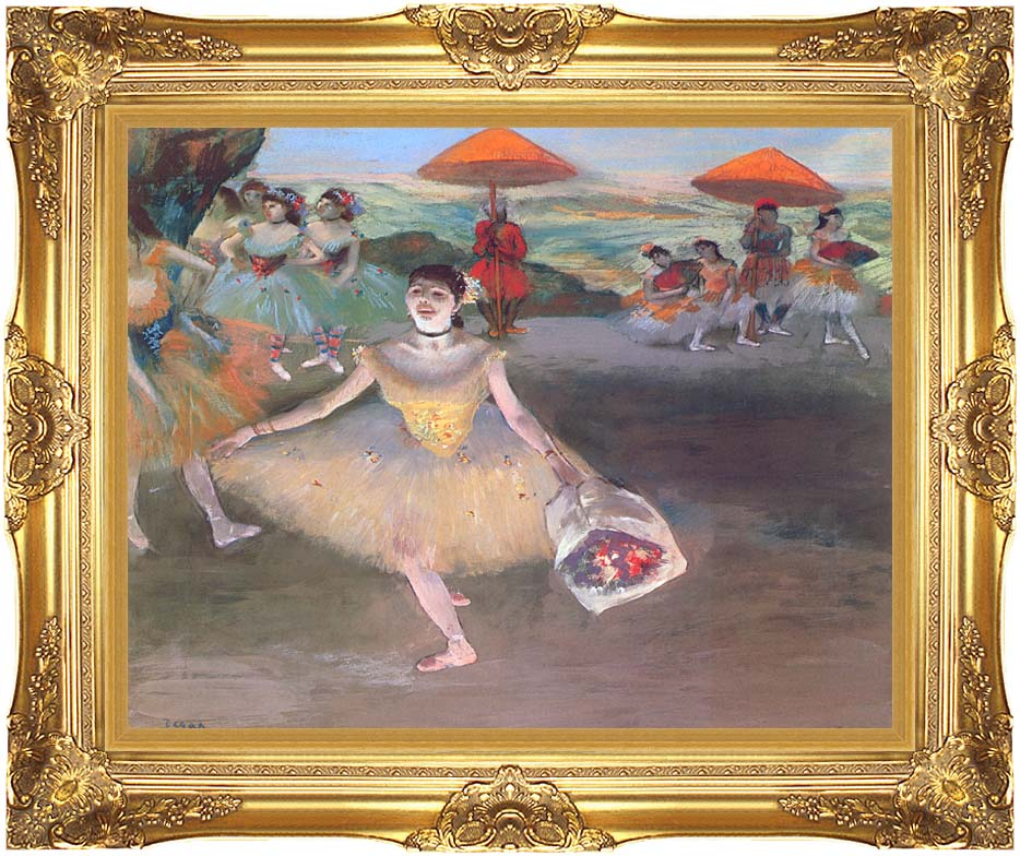 Edgar Degas Ballerina with a Bouquet of Flowers with Majestic Gold Frame