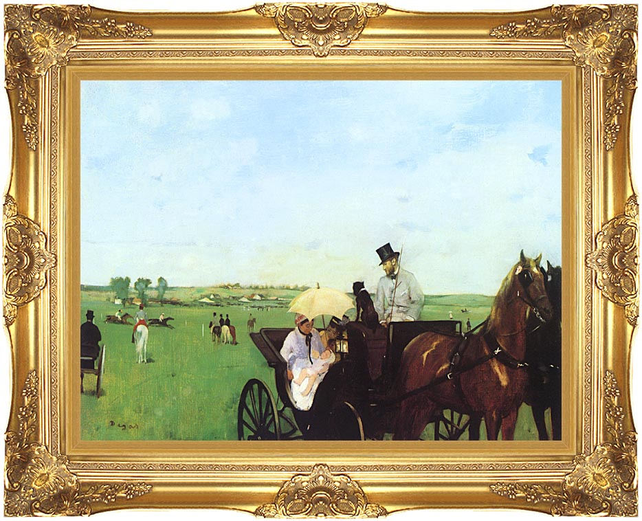 Edgar Degas Carriage at the Races with Majestic Gold Frame