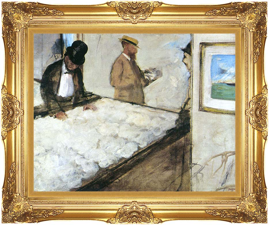 Edgar Degas Cotton Merchants with Majestic Gold Frame