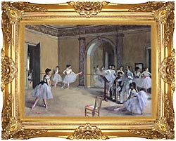Edgar Degas Dance Foyer At The Opera In The Rue Le Peletier canvas with Majestic Gold frame