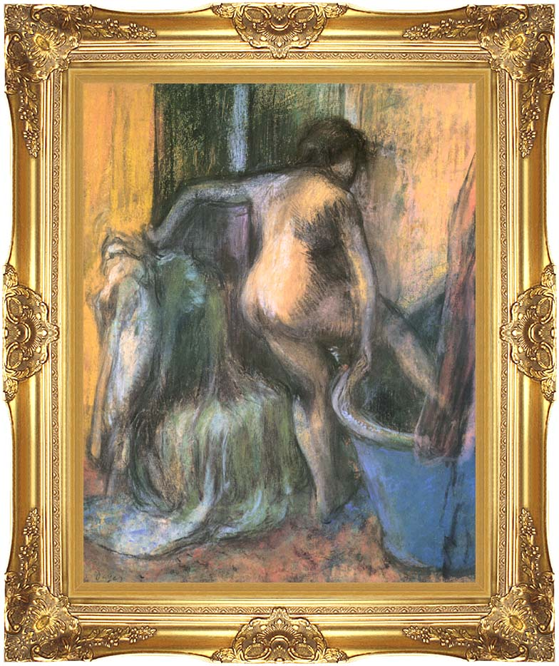 Edgar Degas Nude Stepping Out of the Bath with Majestic Gold Frame