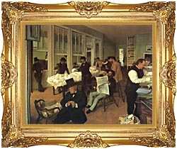 Edgar Degas Portraits In An  Office New Orleans canvas with Majestic Gold frame