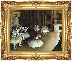 Edgar Degas Rehearsal Of A Ballet On Stage canvas with Majestic Gold frame