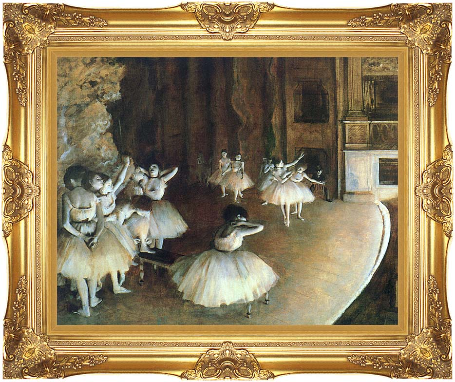 Edgar Degas Rehearsal of a Ballet on Stage with Majestic Gold Frame