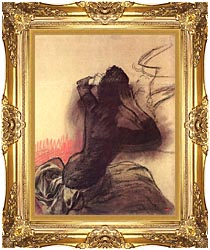 Edgar Degas Seated Woman Adjusting Her Hair canvas with Majestic Gold frame