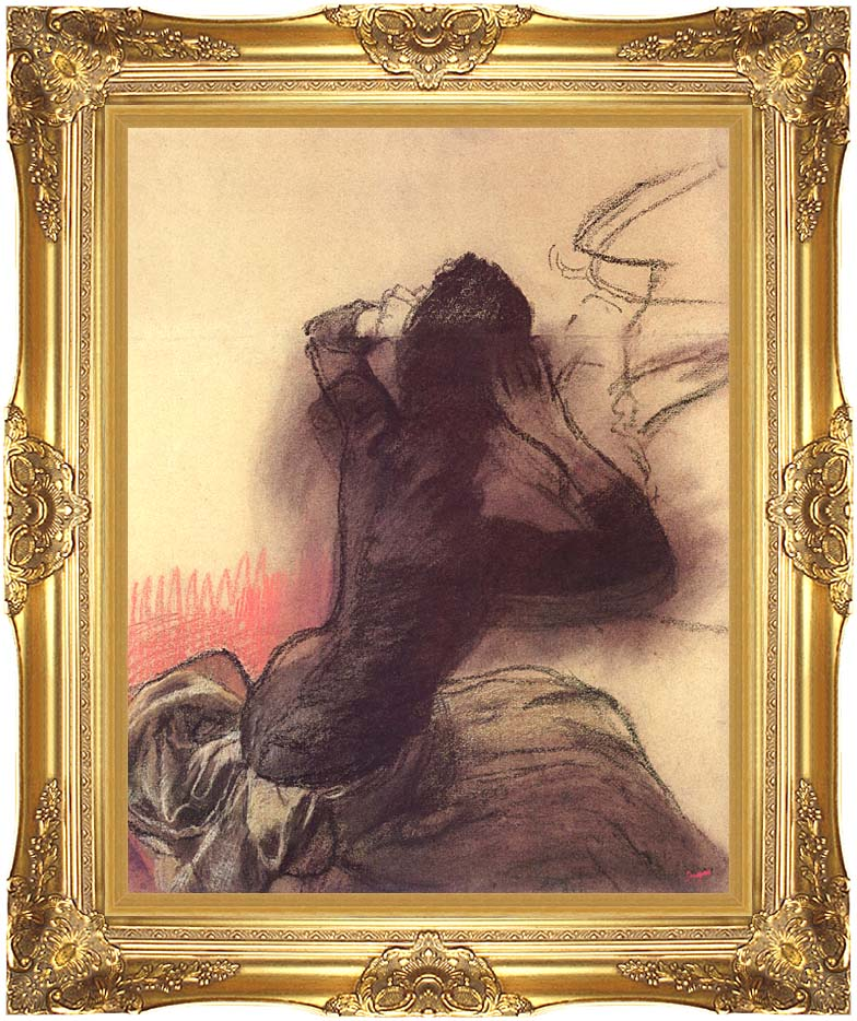 Edgar Degas Seated Woman Adjusting Her Hair with Majestic Gold Frame