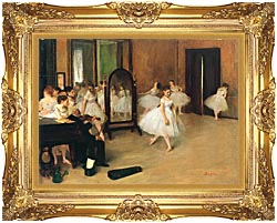 Edgar Degas The Dancing Class canvas with Majestic Gold frame