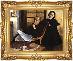 Edgar Degas Uncle And Niece canvas with Majestic Gold frame