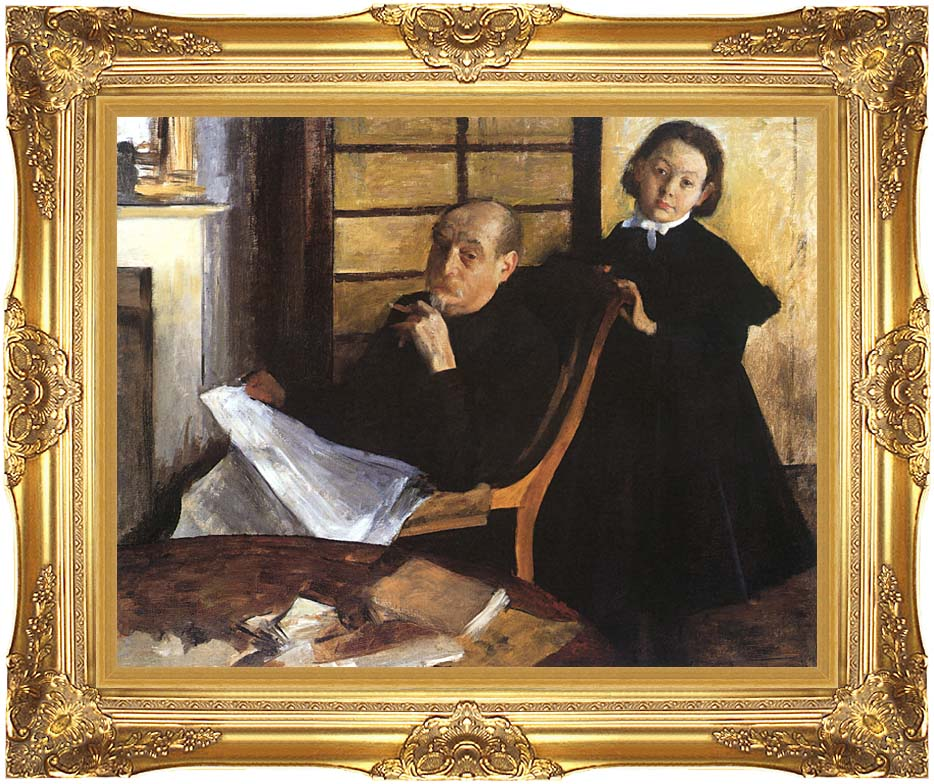 Edgar Degas Uncle and Niece with Majestic Gold Frame