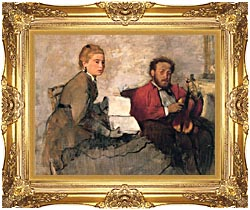 Edgar Degas Violinist And Young Woman Holding The Music canvas with Majestic Gold frame