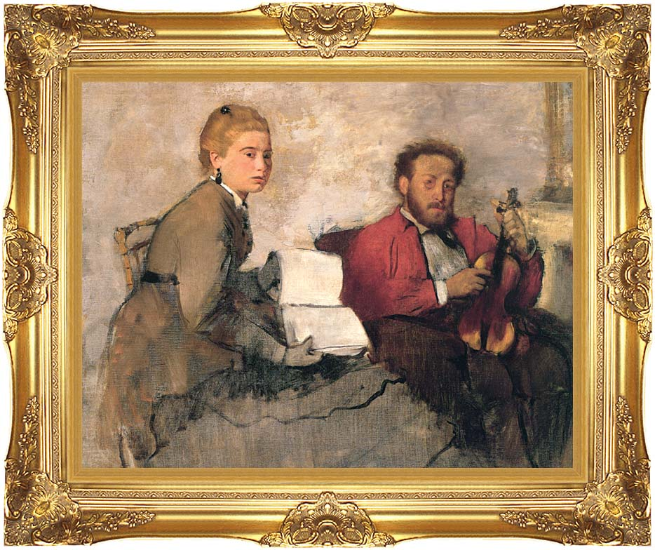 Edgar Degas Violinist and Young Woman Holding the Music with Majestic Gold Frame