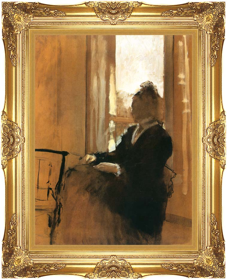 Edgar Degas Woman at a Window with Majestic Gold Frame