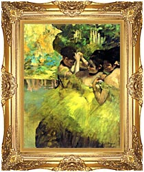 Edgar Degas Yellow Dancers In The Wings canvas with Majestic Gold frame