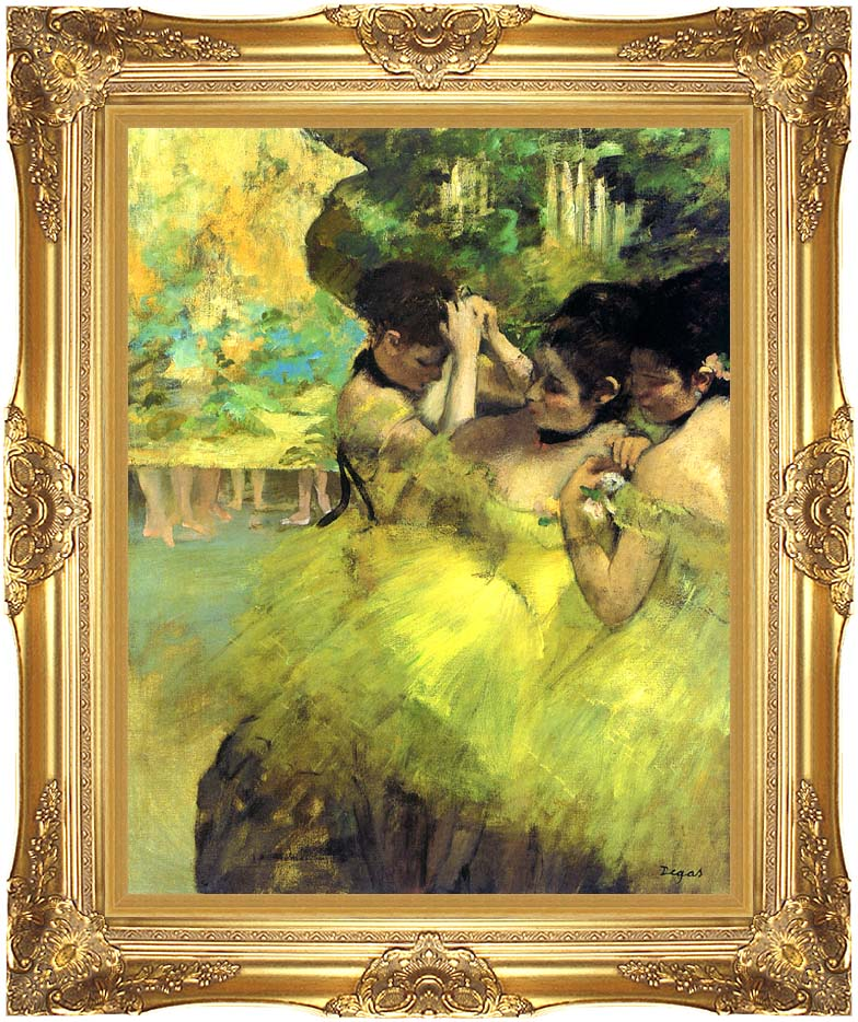 Edgar Degas Yellow Dancers in the Wings with Majestic Gold Frame