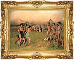Edgar Degas Young Spartans Exercising canvas with Majestic Gold frame