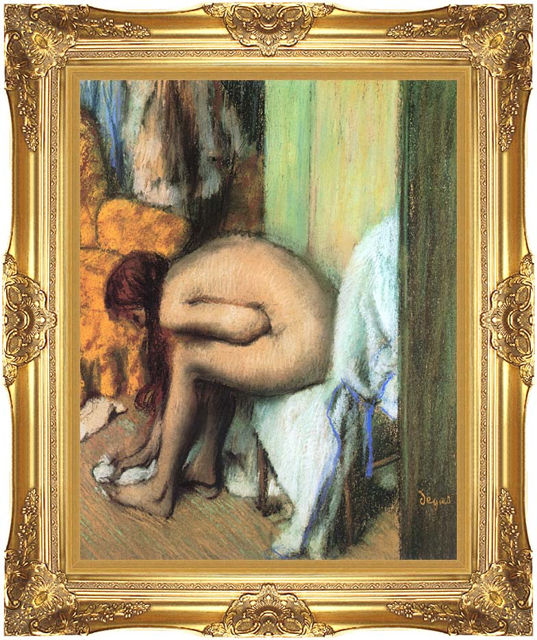 Edgar Degas After the Bath, Woman Drying Her Feet with Majestic Gold Frame