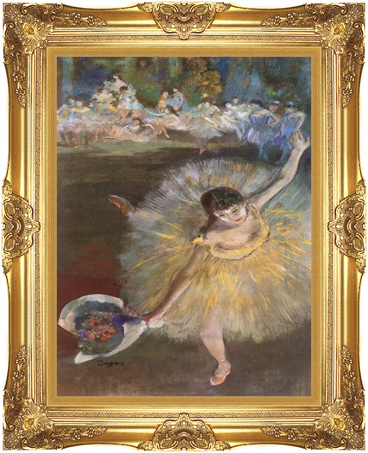 Edgar Degas Fin d'arabesque (detail) with Majestic Gold Frame
