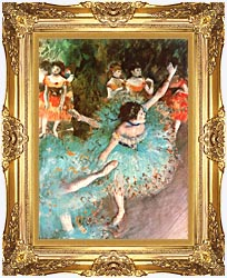 Edgar Degas The Green Dancer canvas with Majestic Gold frame