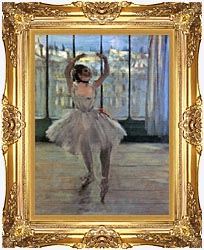 Edgar Degas Dancer Posing For A Photographer   Dancer Before A Window canvas with Majestic Gold frame
