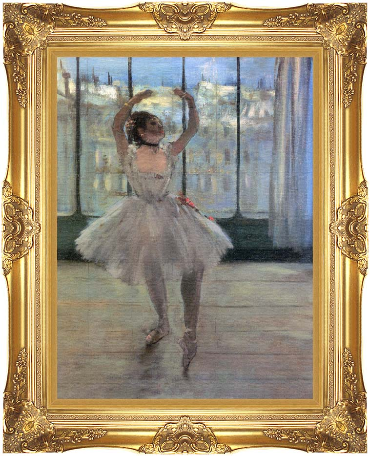 Edgar Degas Dancer Posing for a Photographer - Dancer before a Window with Majestic Gold Frame