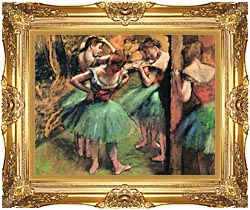 Edgar Degas Dancers Pink And Green canvas with Majestic Gold frame