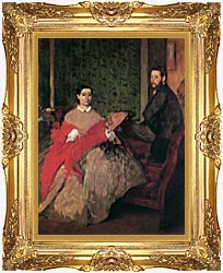 Edgar Degas Edmondo And Therese Morbilli canvas with Majestic Gold frame