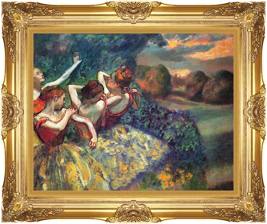 Edgar Degas Four Dancers with Majestic Gold Frame