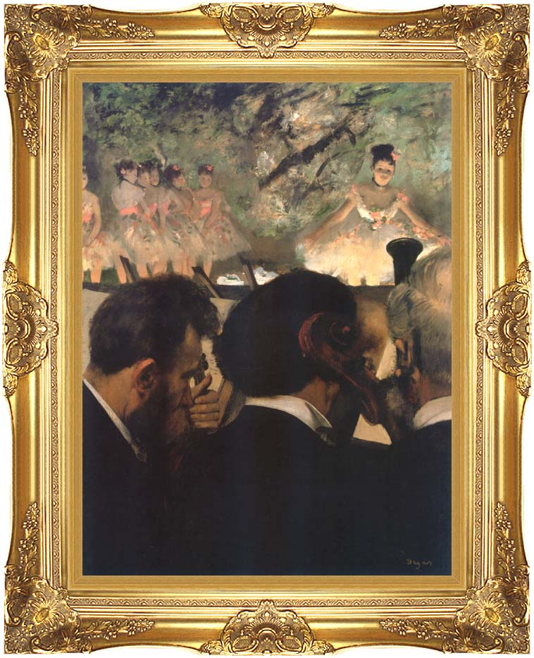 Edgar Degas Musicians in the Orchestra with Majestic Gold Frame