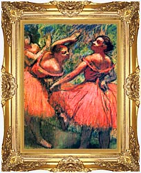 Edgar Degas Red Skirts canvas with Majestic Gold frame