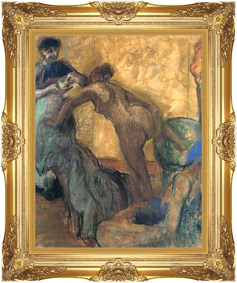 Edgar Degas The Cup of Chocolate with Majestic Gold Frame