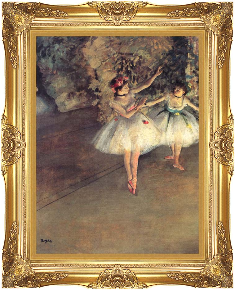 Edgar Degas Two Dancers on the Stage with Majestic Gold Frame