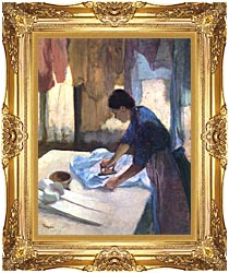 Edgar Degas La Repasseuse canvas with Majestic Gold frame