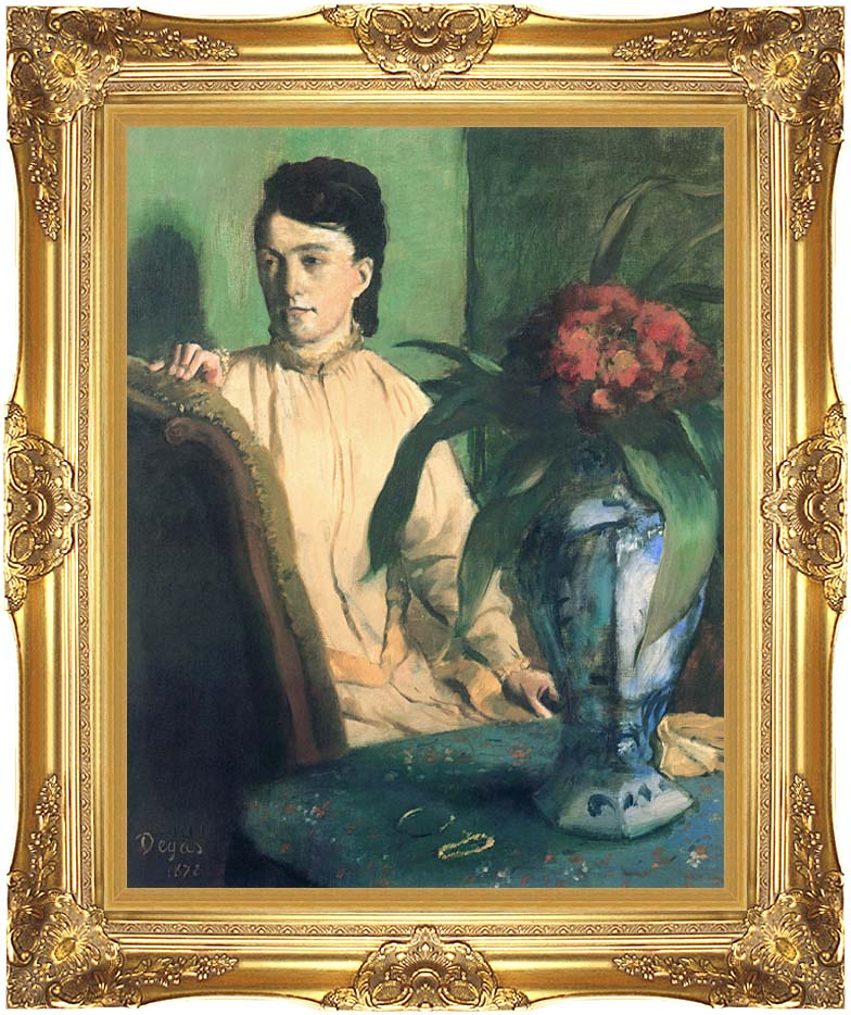 Edgar Degas Woman with Chinese Vase with Majestic Gold Frame
