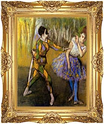 Edgar Degas Harlequin And Colombina canvas with Majestic Gold frame